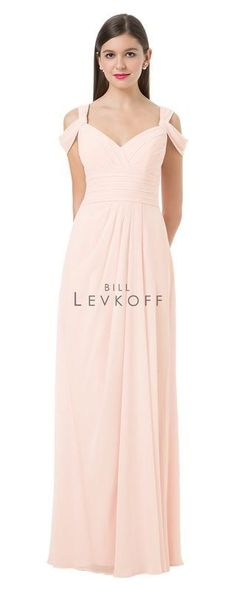 Chiffon gown, V-neck surplice top. Pleated shoulder straps and draped off-the-shoulder straps. Pleated cummerbund accents the waist. Front center pleats adorn the skirt.
