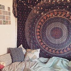 WALL DECOR HIPPIE TAPESTRIES BOHEMIAN MANDALA TAPESTRY WALL HANGING INDIAN THROW #IndianSouthAsian