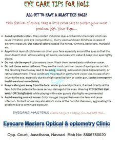 Eyecare Tips For Holi.. #eyecaremasters #optometry #optical #eyecare #goggles #eyewear #safety #indian #festival #Holi