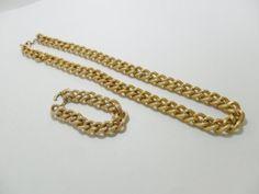 Vintage Necklace & Bracelet SET Gold Tone Metal by KathiJanes, $26.95