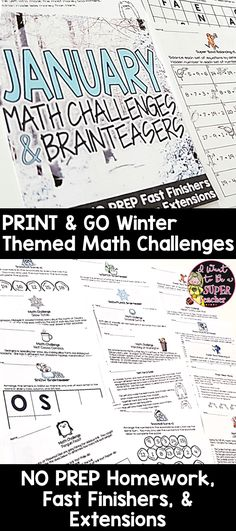 Engaging print & go math activities with winter themes for January! These math printables are perfect for advanced 2nd and 3rd graders. Updated with 26 challenge and brain teaser activities elementary classroom teachers can use for math centers, fast finishers, homework, problem of the week, or small group learning. Fun for kids and NO PREP for teachers! Click for details. #math #january #education #secondgrade #thirdgrade #elementaryeducation #newyearsmath