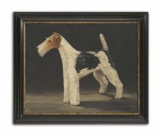 Prize Wire Fox Terrier, English Naive School Show Dog Portrait ,Oils on Canvas , English, c.1925