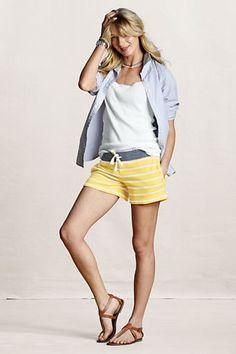 Lands' End Canvas Women's French Terry Striped Shorts  #landsendcanvas
