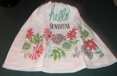 """Crochet hanging towel,white Towel, """"Hello Sunshine"""" Turquoise top by mishap1165…"""