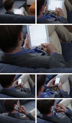 man is using devices