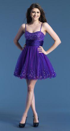 Spaghetti Strap Mini Purple Organza A Line Homecoming Dress