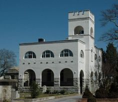 The Bell Tower and arcade - at the historic Oakland Cemetery - in Atlanta, Georgia.    The historic Gothic revival building currently houses the cemetery visitor's center.