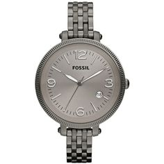 Fossil Heather Smoke Dial Grey-tone Stainless Steel Ladies Watch ($94) ❤ liked on Polyvore featuring jewelry, watches, crown bracelet, analog watches, stainless steel watches, grey watches and bezel bracelet