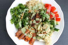 Spiced Tofu Kale Bowl with Cilantro Tahini Dressing. Thanks to Jennifer F for sharing this original recipe. #localDishTO #kale #loveONTfood