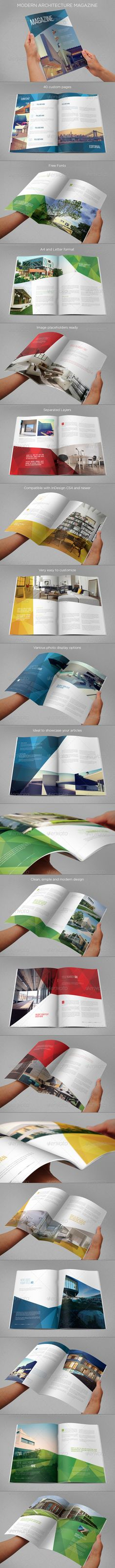Original, modern and clean magazine design. It comes in A4 and Letter paper format. It contains 40 custom pages, which you can duplicate or reduce, and its modern design makes it easy to customize and adapt in InDesign.