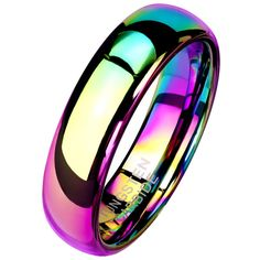 What do you think of this new tungsten rainbow ring? This beautiful rainbow ring is made of solid tungsten carbide. This simple design will make a great everyday casual, handfasting, promise ring or wedding band. The ring has a high polish rainbow color PVD plating. The band measures 6mm wide and is a comfort fit band. Made in ring sizes 5, 6, 7, 8, 9, 10, 11, 12, and 13.#TungstenRainbowRing #TungstenRings #RainbowRings #TungstenWeddingBand #HandfastingRings #PromiseRings…