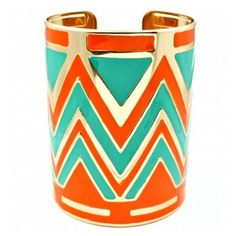Tarrah's Tall Turquoise & Orange Zig Zag Print Cuff Bracelet ($40) ❤ liked on Polyvore