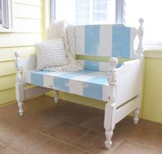 Another fun bench from a discarded bed.  Love thoe beachy theme.  Painted Therapy