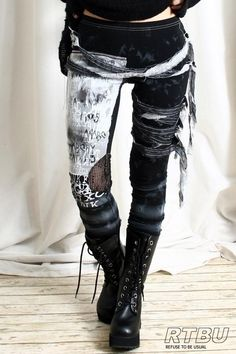 Unisex Ultra Long Zombie Gauze Punk Gothic Punk Distressed Tie Dye Legging/Pants Mesh Patch. $42.00, via Etsy.
