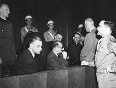 Alfred Jodl, Alfred Rosenberg, Arthur Seyß-Inquart, Hans Frank, Albert Speer and Wilhelm Frick at the International Military Tribunal in Nuremberg