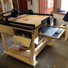 There's the finished #xcarve CNC from @inventables mounted onto the mobile workstation. The laptop compartment is tall enough to tip the screen partially and leave it running, and both compartments are vented from below to help keep it cool. The side compartment holds the controller unit, and the backside has two big drawers. Now I just need to make some stuff! #woodwork #woodworking #finewoodworking