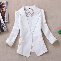 2014 Spring Jaqueta Female Summer Lace Suits Women Casual Casacos One Button Chaqueta Mujer White Yellow Blazer Femininos Blaser $15.86