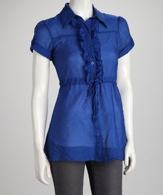Take a look at this Blue Ruffle Short-Sleeve Button-Up by Unik on #zulily today!
