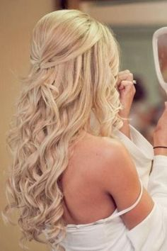 Wedding Hair Down Half up wedding hair is the perfect style for every bride, and here's why… by mavis Half Up Wedding Hair, Wedding Hair And Makeup, Hair Makeup, Wedding Hairstyles Half Up Half Down, Wedding Down Dos, Wedding Hair Blonde, Hair Styles For Wedding, Bridal Hair Half Up With Veil, Half Up Half Down Hair Prom