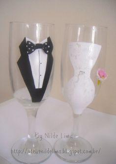Bride com requinte...    Taças Personalizadas  Para Casamento.