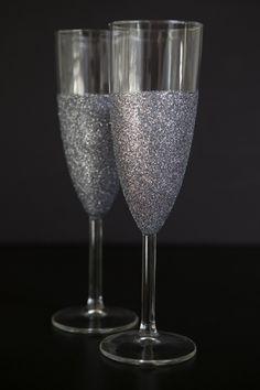 DIY glittered champagne glasses