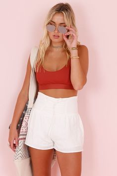Lace Up High Waisted Shorts - Whitehigh waisted shorts 2017 2018 Hot Pants, Holiday Outfits, High Waisted Shorts, White Shorts, Short Dresses, Cute Outfits, Lace Up, Fashion Outfits, Sexy