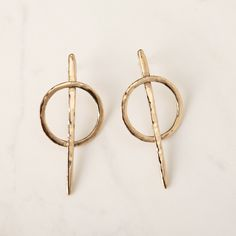 """Bronze """"Needle"""" earrings 6cm high Made in Velvetine's atelier in Paris Anti-allergic sterling silver studs  Made in France"""