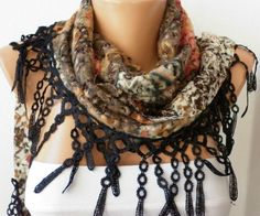 Multicolor Scarf Cotton  Scarf Headband Necklace by fatwoman