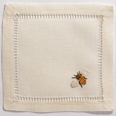 Ivory Linen Bee Design Cocktail Napkins, Set of Four from The Well Appointed House Embroidery Stitches, Hand Embroidery, Embroidery Designs, Machine Embroidery, Bee Design, Design Ideas, Bees Knees, Cocktail Napkins, Napkins Set