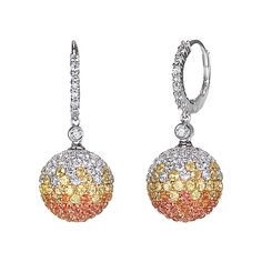 Drop ball earrings in 18K white gold with 1.18ct premium cut round diamonds and 2.37ct yellow and orange sapphires.