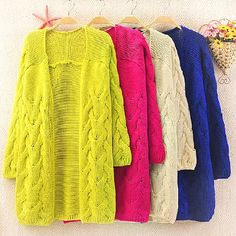 Green Long Sleeve Cable Knit Cardigan Sweater