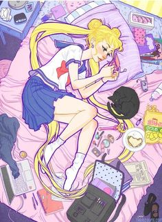 9/25/16 I'm having a wonderful lazy Sunday. Much like Sailor Moon below. What do you Moonies do on your chill time? ✫★ Admin Sailor Saturn ★✫ Fantastic Art by Jacqueline Deleon Sourcelink: http://jacquelindeleon.com/post/148576229622/my-friend-definitelynotdiscoquet-put-one-of-my