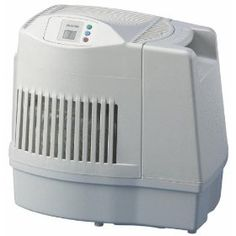Essick Air Products MA0800 Humidifier    Price: $100.48        8 gallon evaporative humidifier humidifies up to 1700 sq. ft. Has 3 digitally controlled speeds including Ultra Quiet (low), automatic shutoff, check filter indicator, refill indicator, and 2.4 gallon removable bottle for convenient filling and maximum run time. 8 gallon output per day. Digital display shows room or...  http://www.amazon.com/dp/B002AQUK9S/?tag=pintr104-20