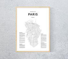 Carte de Paris carte en noir et blanc de Paris carte à