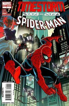 Timestorm Spider-Man Vol 1 1 Marvel Comic Books, Comic Books Art, Comic Art, Poder Marvel, Marvel 2099, Read Comics Online, Amazing Spiderman, Comic Book Covers, Marvel Cinematic Universe