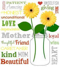 """FREE Mother's Day Printable Just click on the link above and you will be taken to a page to download and print the """"Free"""" Mother's Day Subway Art! I recommend printing on card stock or linen paper. Enjoy"""