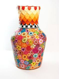 Floral Glass Vase with Polymer Clay Flowers