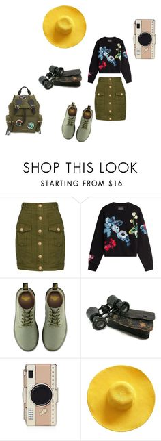 """Explorer"" by monie77 ❤ liked on Polyvore featuring Balmain, Anthony Vaccarello, Dr. Martens, Kate Spade, Burberry, rustic and vintage"