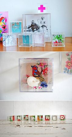DIY: display cubes for treasures and pictures