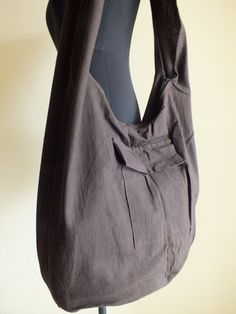 Cotton Shoulder Yaam, Monk Bag Color Dark brown. Natural style shoulder bags made from Soft quality Cotton . All bags have out side pocket . All