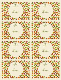 Autumn Leaf Themed To: & From: Gift Tag Labels.  Stick these onto gifts, envelopes or a wine bottle.