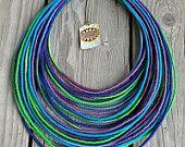 Dark Ocean yarn-wrapped necklace / tribal / hippie / bohemian