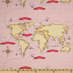 Michael Miller Out To Sea Nautical Map Pink from @fabricdotcom  Designed by Sarah Jane for Michael Miller Fabrics, this cotton print features a world map.  Colors include shades of red, yellow, black and grey on a pink background.  Use for quilting and craft projects as well as apparel and home décor accents.