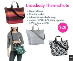 Crossbody Thermal Tote by Thirty-One Fall This popular lunch tote features webbed handles and a long, adjustable strap that provides you with 3 ways to carry your lunch & snacks. Thirty One Fall, Thirty One Party, Thirty One Gifts, Thirty One Thermal, Thirty One Business, 31 Gifts, 31 Bags, Lunch Tote, D 20