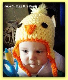 Baby Crocheted Chicken Little Hat by KikkinKazKreations on Etsy
