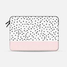Pastel pink black watercolor polka dots pattern