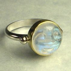 Rainbow Moonstone Ring - Man in the Moon