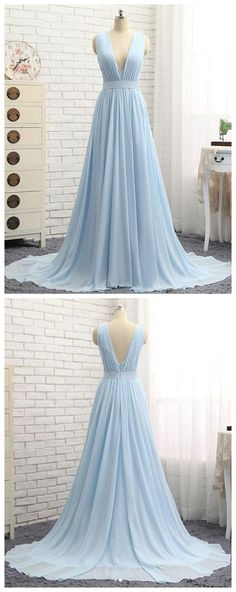 Simple blue v neck chiffon long prom dress, blue evening dress P1058  #promdresses #longpromdress #2018promdresses #fashionpromdresses #charmingpromdresses #2018newstyles #fashions #styles #hiprom #prom #blueprom