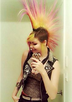 Faded Pink/Red/Yellow Mohawk