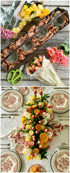 DIY Floral Arrangement with Tulips, Roses and Citrus | ©homeiswheretheboatis.net #flowers #tablescapes #transferware White Dinner Plates, Bamboo Skewers, Oranges And Lemons, Yellow Tulips, Floral Foam, Flower Centerpieces, Fruits And Veggies, Tablescapes, Pretty In Pink